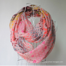 Lady Fashion Geometry Printed Polyester Voile Spring Infinity Scarf (YKY1102)
