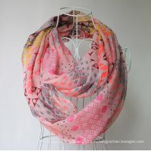 Леди мода Геометрия печатных полиэфира Маркизет Весна бесконечность шарф (YKY1102)