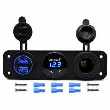 Waterproof Marine/Boat 12V 4X4 Power Socket Panel Mount Twin USB Voltage Current Meter 12V DC Socket