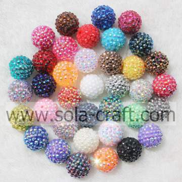 Moda Mix colore solido resina acrilica strass palla perline 18 * 20mm