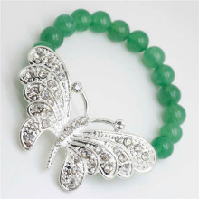 Green Aventurine Gemstone Bracelet with Diamante alloy big butterfly Piece