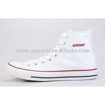 zapatos de skate de lona de corte alto blanco para mujer