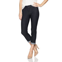 Women's Cotton Jeans Textured Capri Denim Trousers