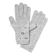 PK17ST020 italienische Merino Wolle Mischung Lady Fashion Winter Handschuh mit Crystal Bead