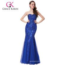 Grace Karin Strapless Sweetheart Royal Blue Tulle Netting Prom Mermaid Dress GK001031-1