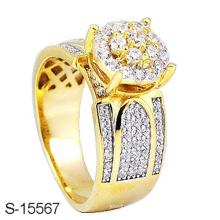 Nova 14k banhado a ouro anel de prata esterlina jóias