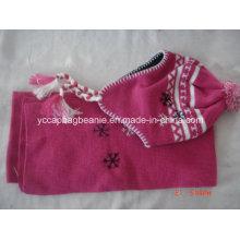 Ano Novo Produto Fancy Lã Crianças Knit Chapéus Conjunto Scarf Knitted Crochet Baby Hat
