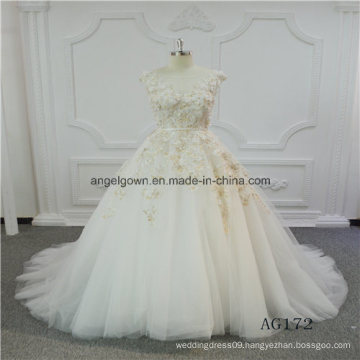 Flowers Decoration A Line Latest Gown Design Wedding Dress