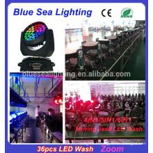 2015 Chine Vente en gros 36pcs x 15w RGBWA 5in1 led zoom tête en mouvement