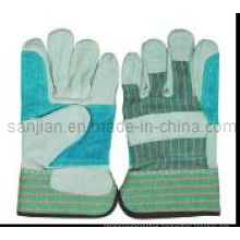 Ab Grade Rubberized Cuff Full Palm Cow Split Leather Work Glove