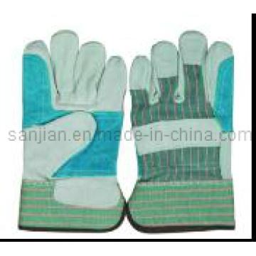 Ab Grade Rubberized Cuff Full Palm Cow Split Leather Work Glove
