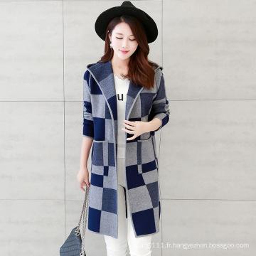 Femmes Fashion Viscose tricoté à carreaux motif cardigan à capuchon (YKY2059)