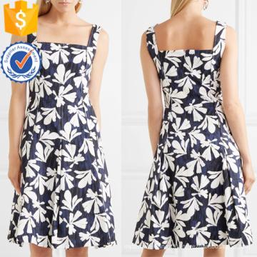 Multicolorido plissado impresso algodão sem mangas Mini vestido de verão Fabricação atacado moda feminina vestuário (TA0296D)