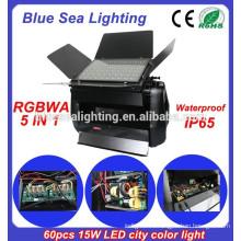 DMX 60pcs 15w rgbwa 5 в 1 IP65 водонепроницаемый dmx свет открытый