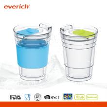 Promotionnel 300ml en gros Verre en verre avec manche en silicone