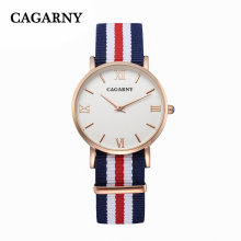 Cagarny Fabric Wrist Watch with IP Gold Plated 4roman Words