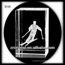 K9 3D Laser subsuperfície de esqui dentro retângulo de cristal