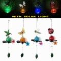 Jardín de metal colgante solar artesanía linterna iluminada con decoración de bola de cristal