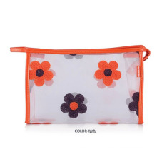 Lady Fashion Flower Printed Clear PVC Cosmetic Bag (YKY7533-1)