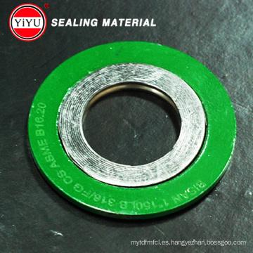 ¡Gran venta! Metal espiral herida junta Ss304 con el anillo exterior CS Spray pintura colores amarillo o verde Junta