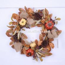 "Cosecha de otoño 22 ""Corona de arpillera de girasol naranja"