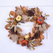 "Fall harvest 22"" Orange Sunflower Burlap Wreath"