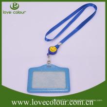 Пользовательский кожаный держатель удостоверения личности с ремешком