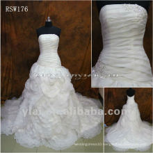 RSW176 Organza Ruffled Petals Wedding Dress With Beaded Venice Lace
