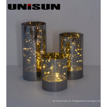 Decoração de Natal Artesanato de vidro claro com corda de cobre LED Light for Wall Art (17008)