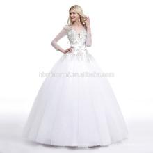 2017 de color blanco invierno de manga larga de encaje de cola de pescado más el tamaño del vestido de boda patrones