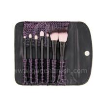 7pcs preto portátil maquiagem escova conjunto