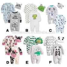 Infant 2 pcs set bébé barboteuse imprimé dessin animé bébé barboteuse avec chapeau