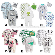 Infant 2 pcs set baby romper printed cartoon baby romper set with hat