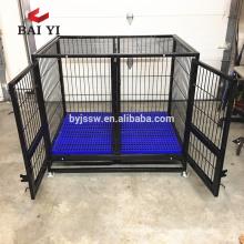 Grande cage de chien de tube carré fort avec des roues pour le marché des Etats-Unis
