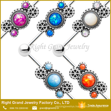 Opal Jewelled Industrial Barbell With 14G Cartilage 316L Surgical Steel Barbell Earring
