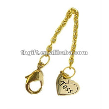 Metal heart charm mobile phone strap