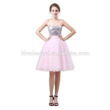 Vestido de fiesta corto de cintura alta Cristales vestidos de graduación de las señoras del vestido de boda sin mangas de la unión del hombro