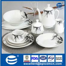 47pcs super weiße runde türkische Porzellanfarbenkastenverpackung preiswerter Entwurfsabendessen stellte ein
