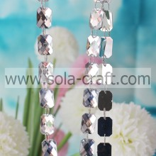 Rectangle oblong cristal acrylique perles facettées Garland Diamond Strand mariage décoration Rideau chaînes Iridescence couleur Optio