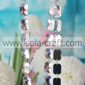 15*21MM Shinny Rectangle Faux Crystal Oblong Faceted Bead Garland For Hotel