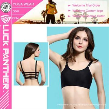Горячие Продажи Сексуальная Мода Дамы Сплошной Черный Цвет Спорт Бюстгальтер