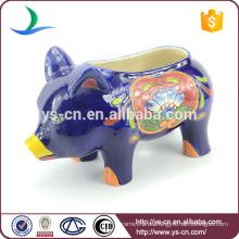 YSfp0004 Kleine bunte Handdruck Keramik Schwein Blumentopf für zu Hause