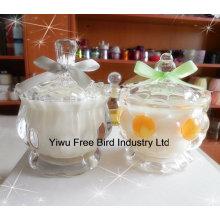 Moda branco Scented Soy Wax Candle em jarra de vidro
