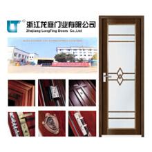 Porta do banheiro do caixilho de alumínio da cor de madeira
