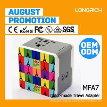 LongRich india eléctrico multi adaptador de enchufe, hot ac adaptador cargador de viaje usb 1.0a