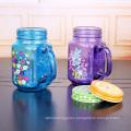 square glass jar 500ml wholesale 16oz glass mason jar with handle and metal lid