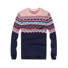 New Design Men's Windproof Jacquard Sweater Mens Knitwear para presente de Natal