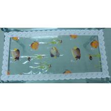 Nappe imprimée de PVC avec la frontière de dentelle (JFCD0228)
