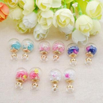 Gold Plated White Diamond Crystal Multicolor Drift sand Beads Glass Ball double-sided piercing Stud Post Earrings