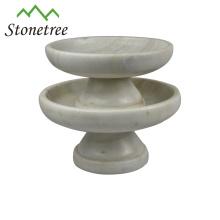 Venta por mayor de nuevos soportes de pastel de mármol de piedra de plato de fruta redonda blanca